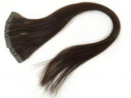 Mega Hair Fita Adesiva Cabelo Humano Classic Castanho Médio #4 - 10 peças 55cm 25g