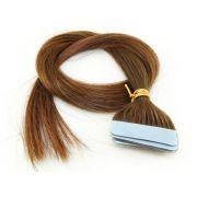 Mega Hair Fita Adesiva Cabelo Humano Classic Chocolate #66 - 10 peças 55cm 25g
