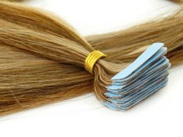 Mega Hair Fita Adesiva Cabelo Humano Premium Loiro Mechado #4/27 - 20 peças 65cm 60g