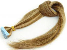 SUPER PROMOÇÃO - Mega Hair Fita Adesiva Cabelo Humano Premium Loiro Mechado #4/27 - 20 peças 65cm 60g