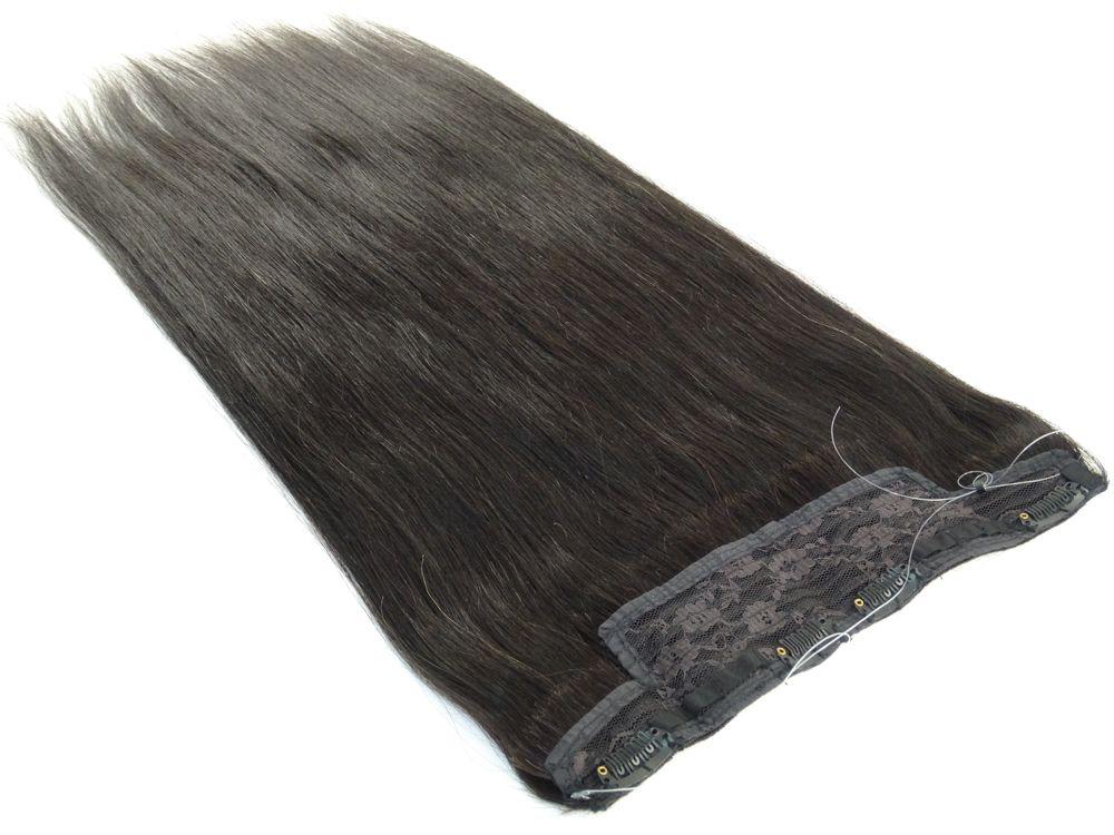 Aplique Mágico Tiara Tic Tac Cabelo Humano Castanho Escuro Natural - 60cm 130g