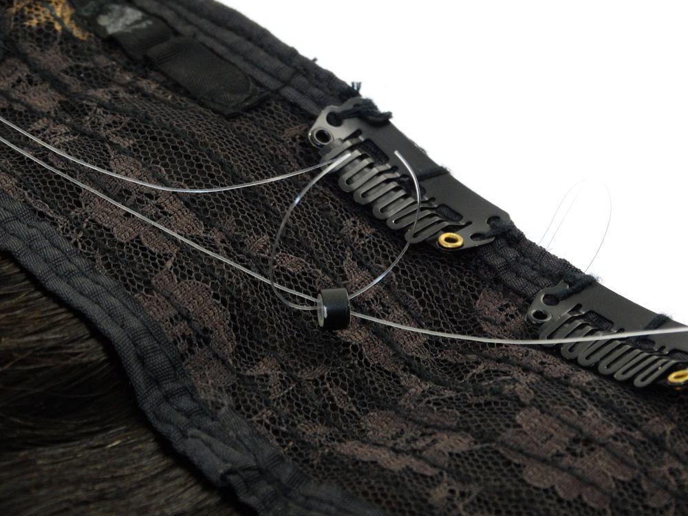 Aplique Mágico Tiara Tic Tac Cabelo Humano Ombre Castanho Escuro Natural - 60cm 125g