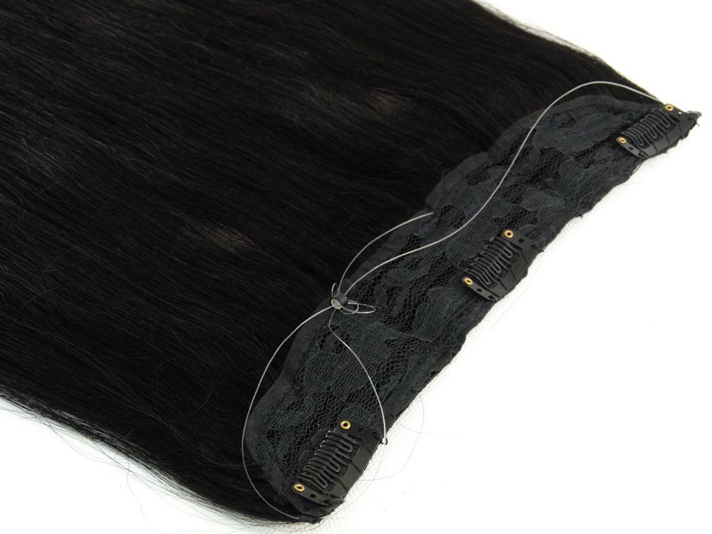 Aplique Mágico Tiara Tic Tac Cabelo Humano Preto #1 - 45cm 85g