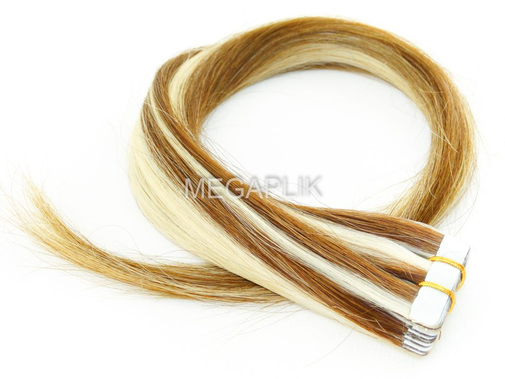 PROMOÇÃO NATAL 15% - Mega Hair Fita Adesiva Classic Loiro Mechado 55cm - Cor 6/613 (tabela antiga)