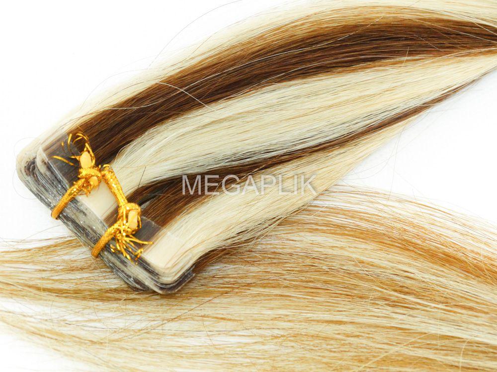 PROMOÇÃO CARNAVAL - Mega Hair Fita Adesiva Classic 20 Peças Mechado #6/613 Cabelo Humano 55cm