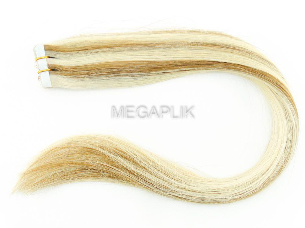 PROMOÇÃO NATAL 15% - Mega Hair Fita Adesiva Classic Loiro Mechado 55cm - Cor 9/12