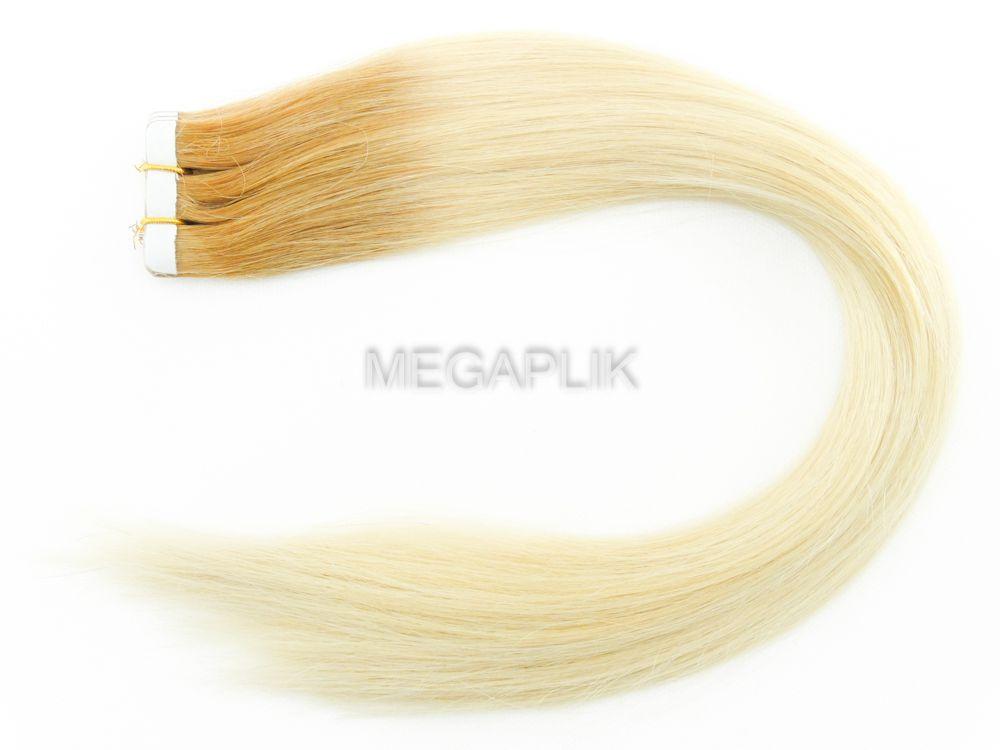 PROMOÇÃO CARNAVAL - Mega Hair Fita Adesiva Classic 20 Peças Ombre Loiro #9/10 Cabelo Humano 45cm