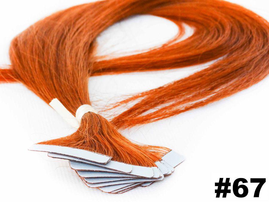 PROMOÇÃO NATAL 15% - Mega Hair Fita Adesiva Classic ruivo 55cm - 10 peças - Cor 67