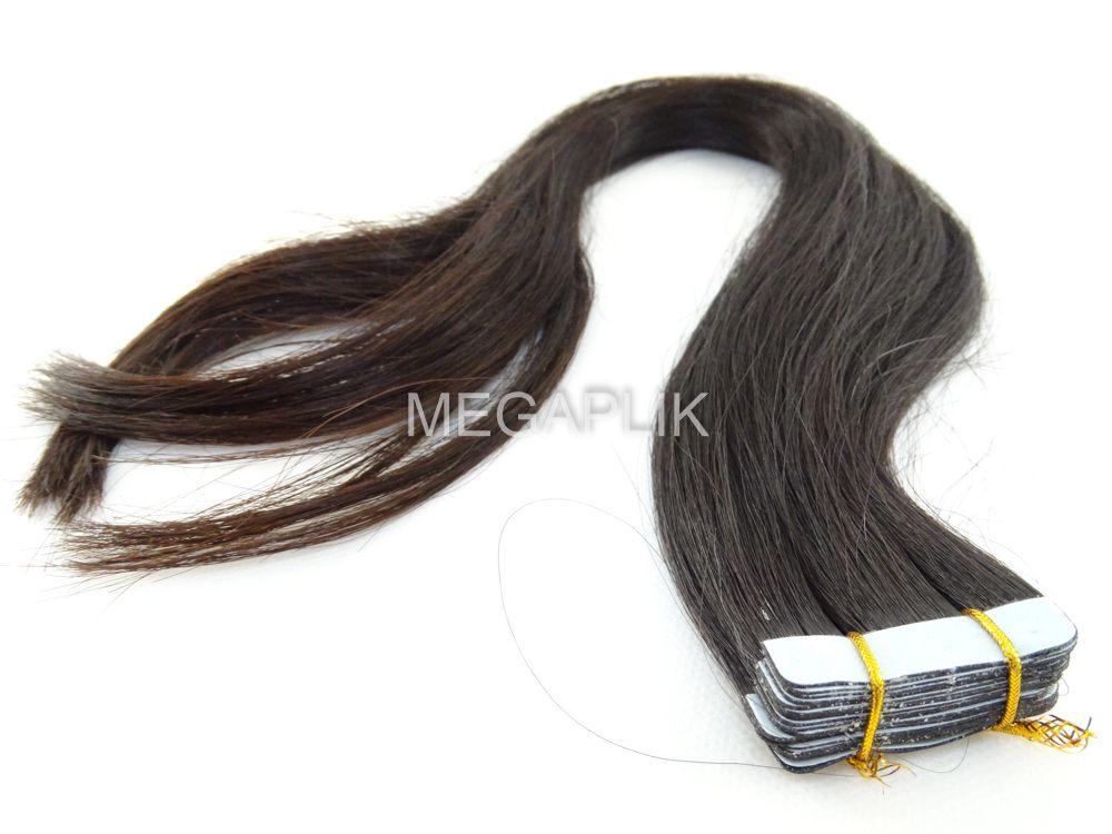 PROMOÇÃO CARNAVAL - Mega Hair Fita Adesiva Classic 20 Peças Castanho Escuro Natural Cabelo Humano 40cm, 45cm, 55cm e 65cm