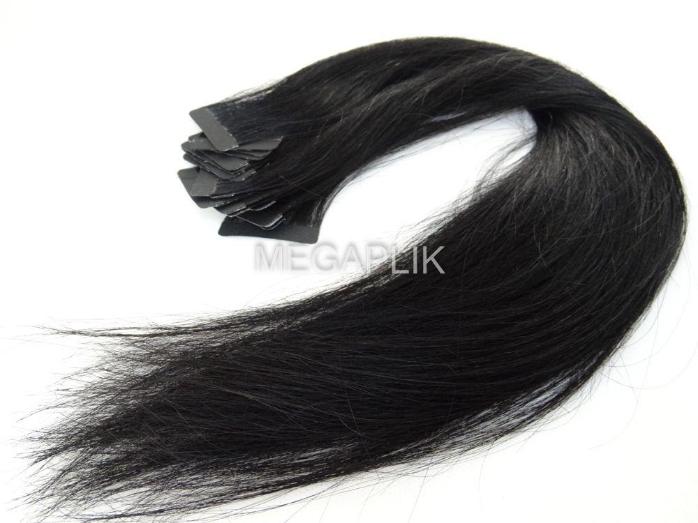 PROMOÇÃO 20% - Mega Hair Fita Adesiva Cabelo Humano Classic Preto #1 - 20 peças 35cm 30g