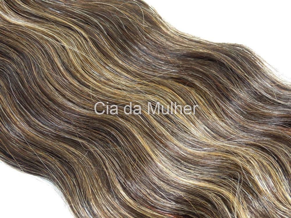 Cabelo Orgânico Ondulado Castanho Dourado 35cm em Tela - Sensationnel PRO 10