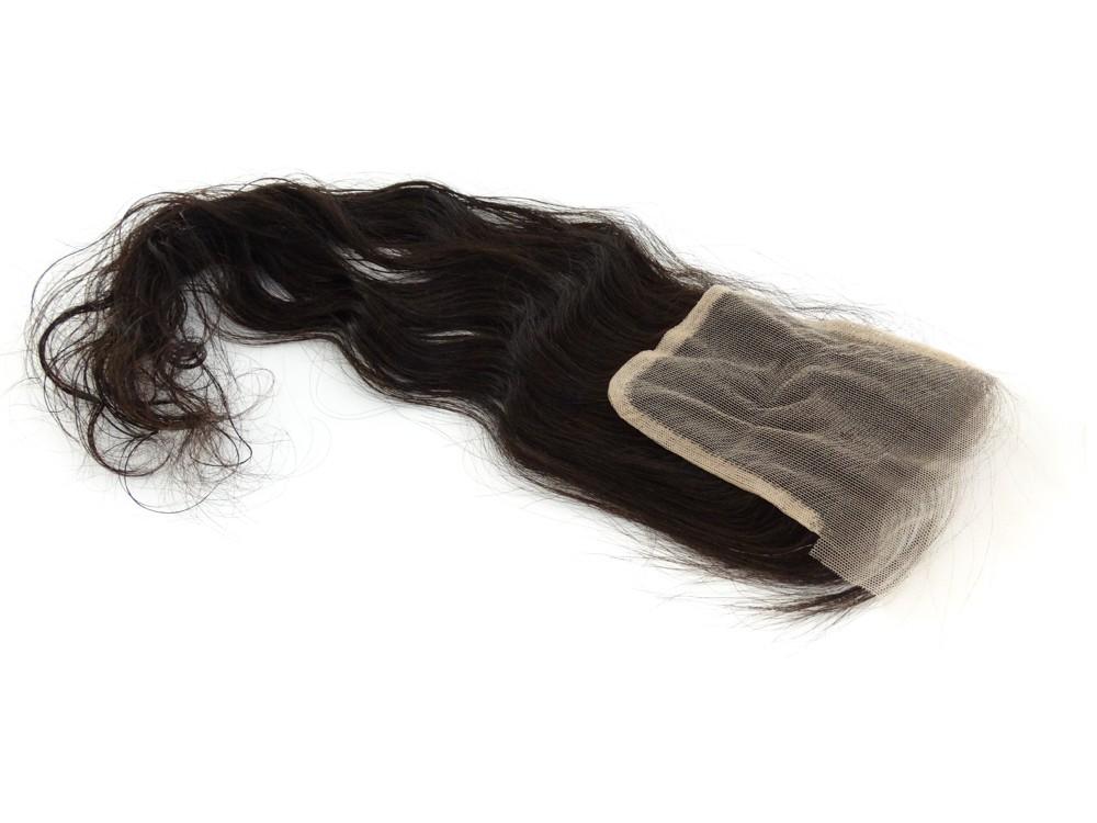 Closure Cabelo Humano Castanho Escuro Natural Ondulado - 45cm 30g - Base 10x10cm