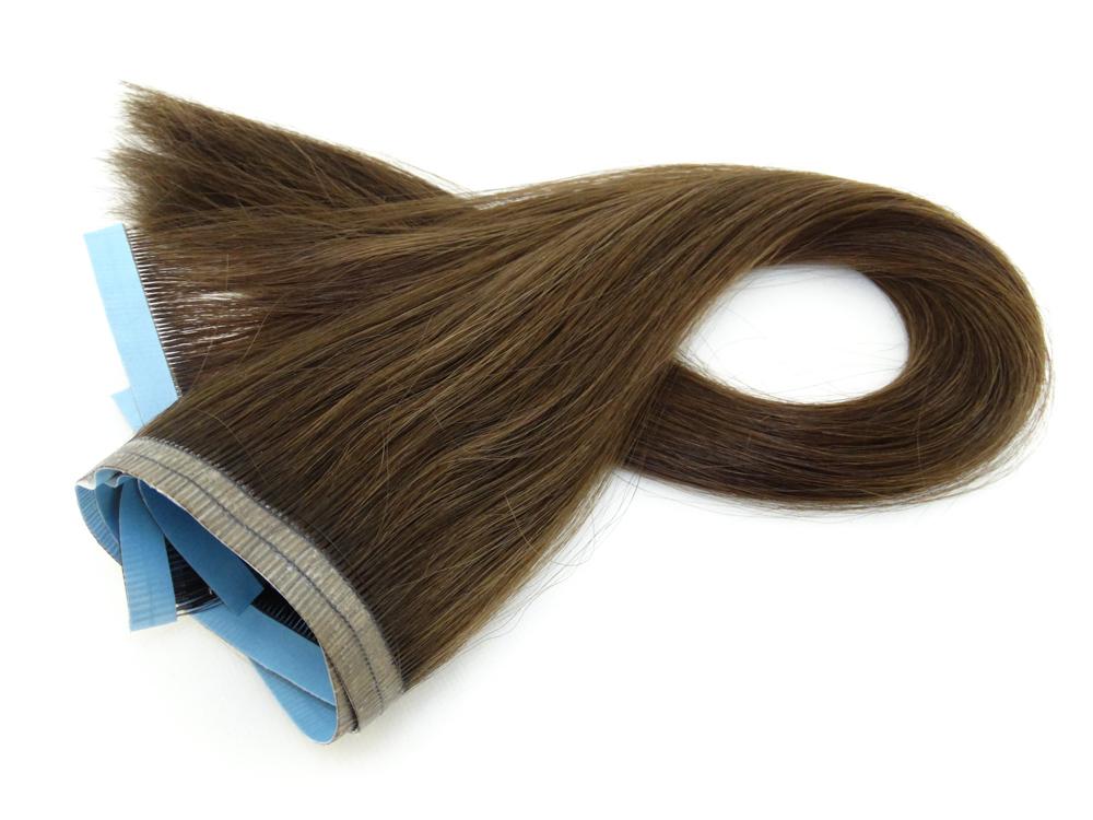 Duas Faixas Mega Hair Fita Adesiva Cabelo Humano Gold Castanho Claro - 45cm 40g