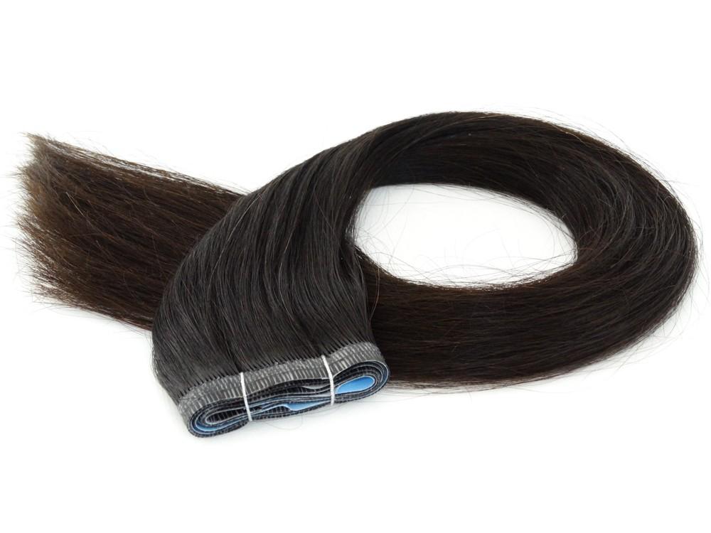 Duas Faixas Mega Hair Fita Adesiva Cabelo Humano Gold Castanho Escuro Natural - 55cm 50g
