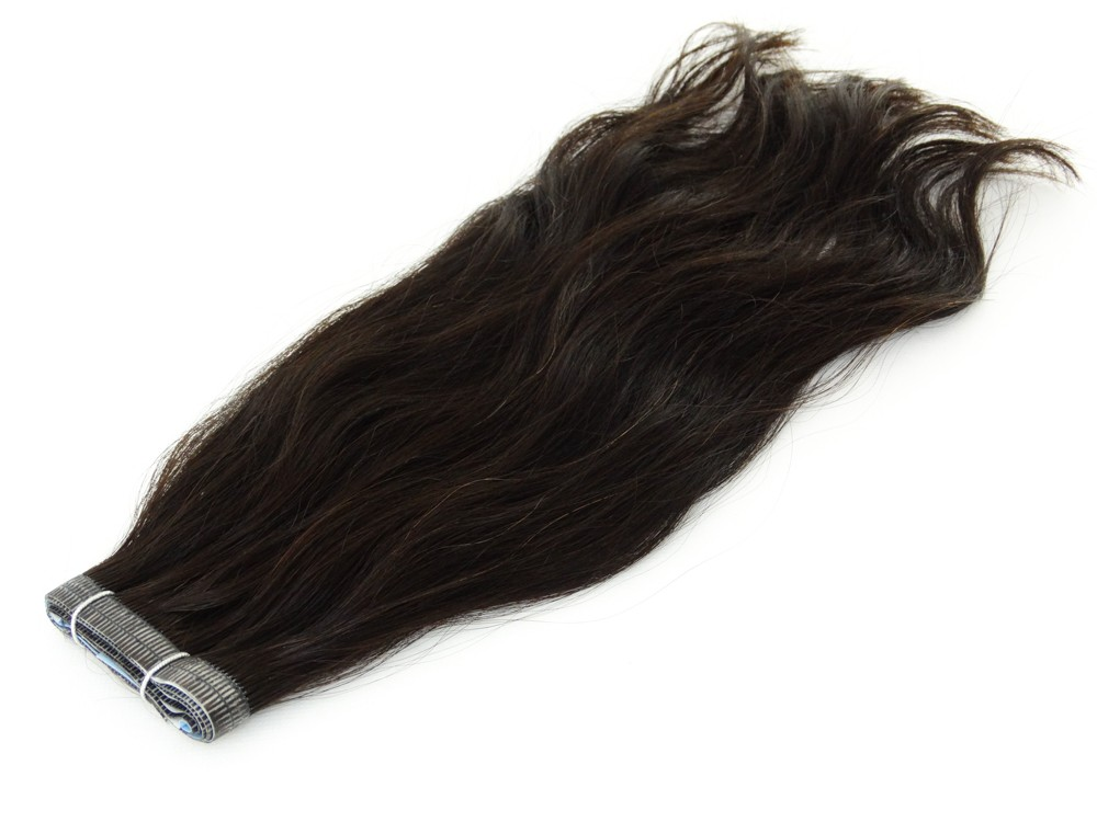 Duas Faixas Mega Hair Fita Adesiva Cabelo Humano Gold Castanho Escuro Natural Ondulado - 35cm 30g
