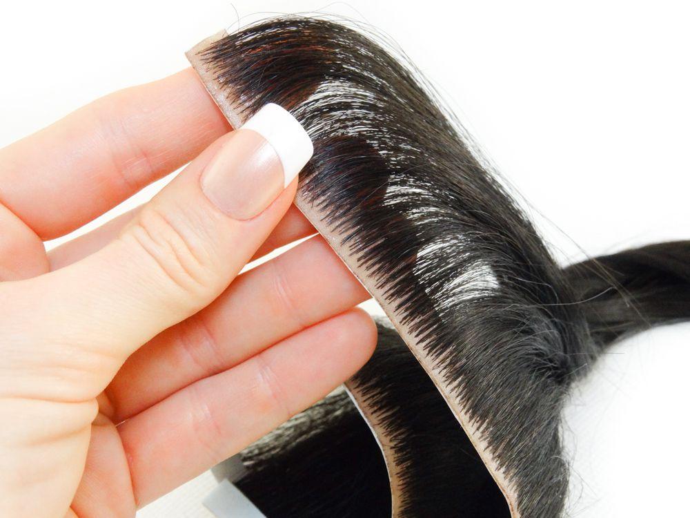 Faixa Contínua Mega Hair Invisível Fita Adesiva Cabelo Humano Castanho Escuro #3 - 40cm 25g