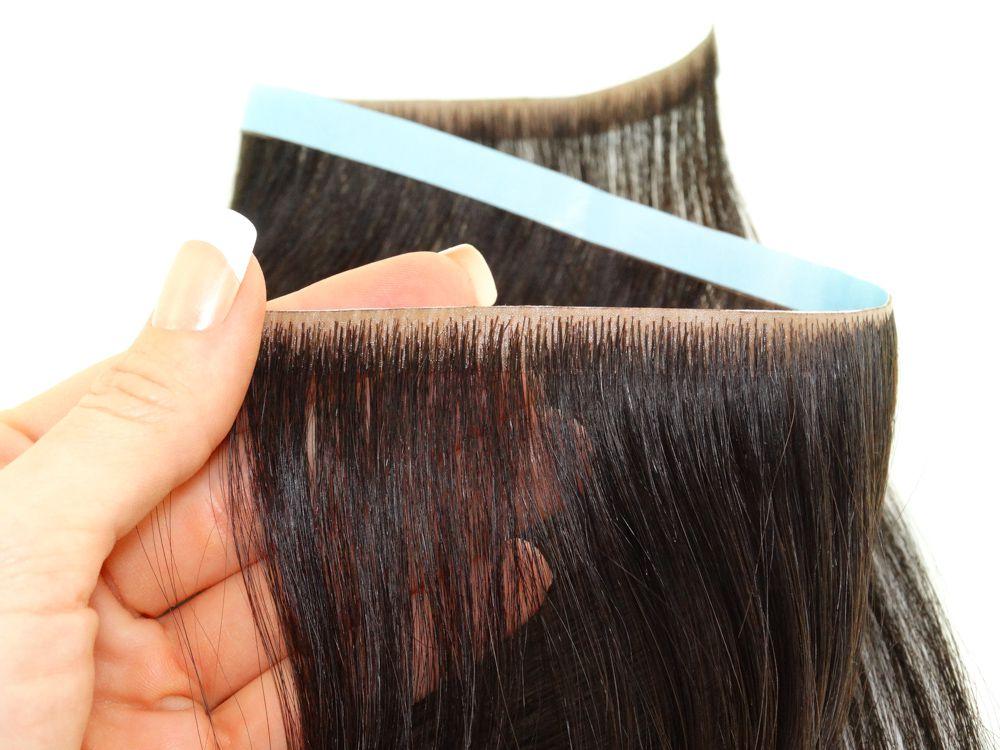 Faixa Contínua Mega Hair Invisível Fita Adesiva Cabelo Humano Castanho Médio #4 - 45cm 20g