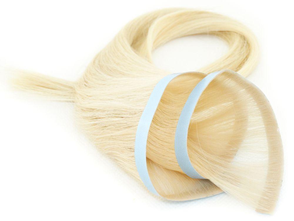 Faixa Contínua Mega Hair Invisível Fita Adesiva Cabelo Humano Loiro Platinado #12 - 35cm 20g
