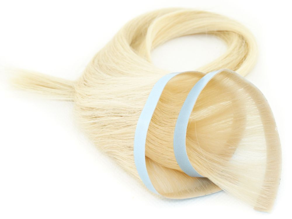 Faixa Contínua Mega Hair Invisível Fita Adesiva Cabelo Humano Loiro Platinado #12 - 45cm 20g
