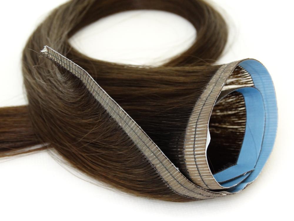 Faixa Mega Hair Fita Adesiva Cabelo Humano Gold Castanho Claro - 45cm 20g