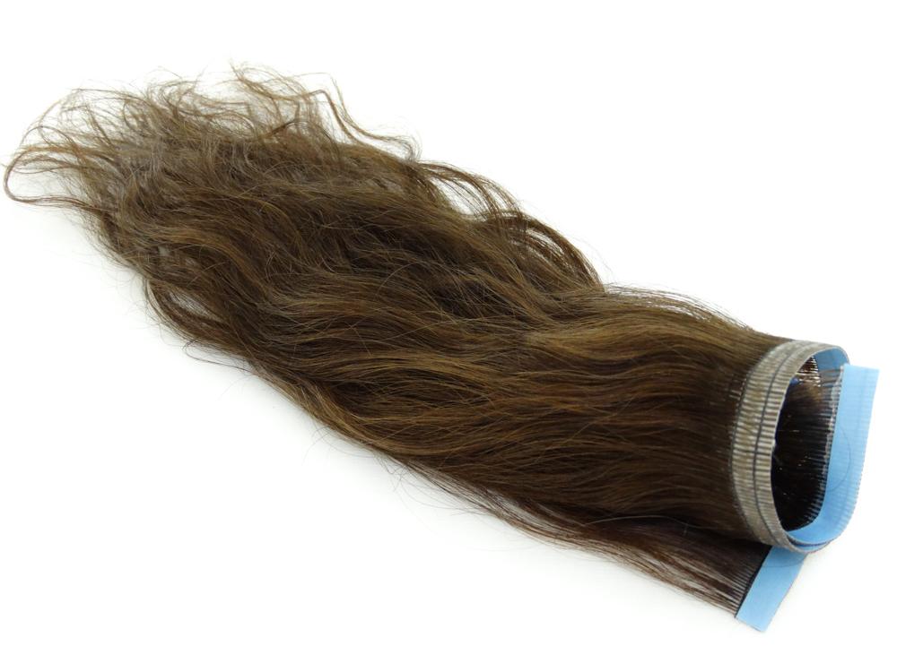 Faixa Mega Hair Fita Adesiva Cabelo Humano Gold Castanho Claro Ondulado - 35cm 15g