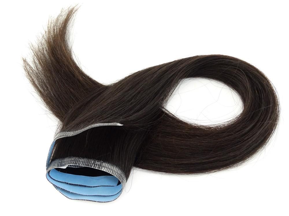 Faixa Mega Hair Fita Adesiva Cabelo Humano Gold Castanho Escuro Natural - 45cm 20g