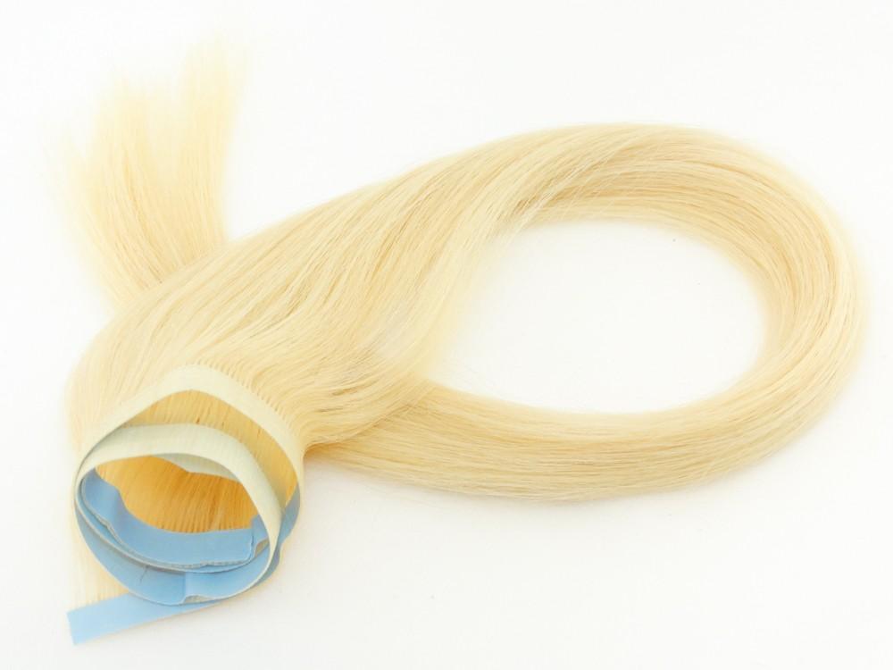 Faixa Mega Hair Fita Adesiva Cabelo Humano Gold Loiro Platinado - 55cm 25g