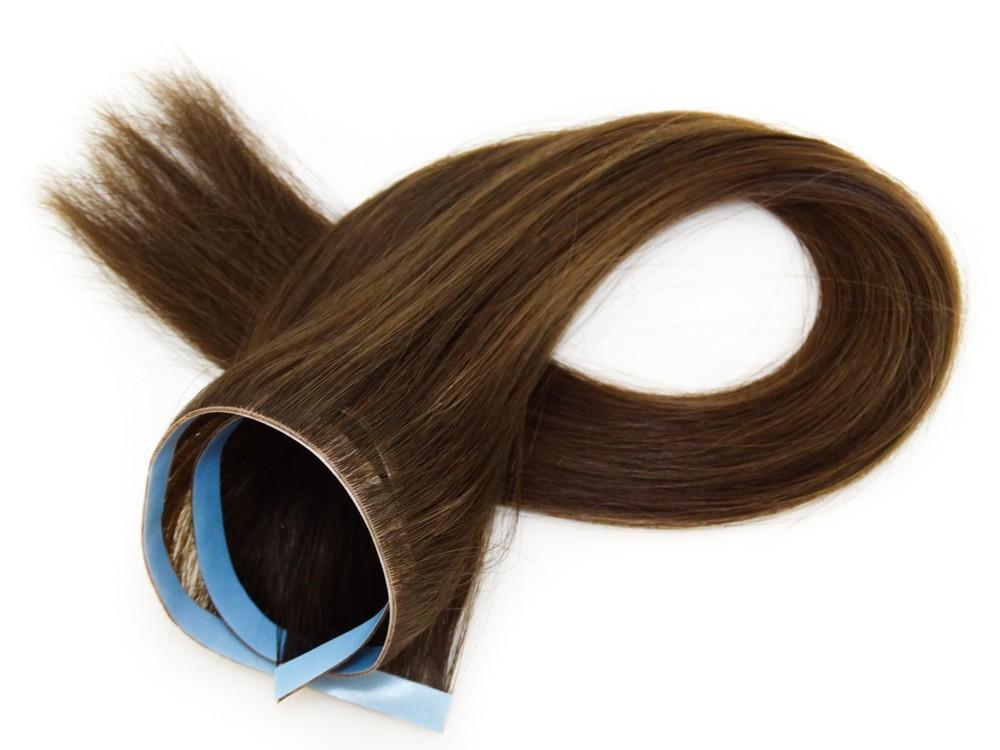 Invisível Faixa Contínua Mega Hair Fita Adesiva Cabelo Humano Gold Castanho Médio Claro - 45cm 20g