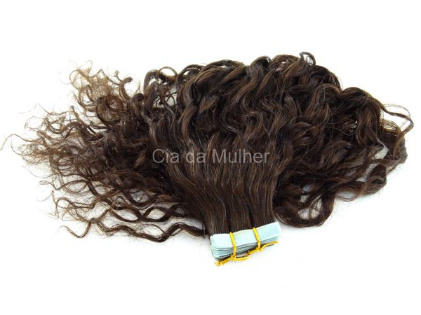 Mega Hair Cacheado Fita Adesiva Castanho Escuro #3
