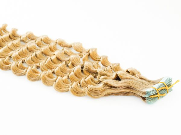 Mega Hair Fita Adesiva Premium 20 peças Loiro Claro #9 Cabelo Humano Cacheado 55cm