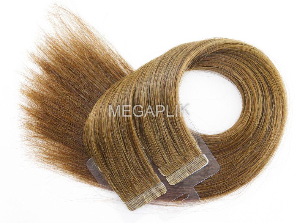 Mega Hair Castanho Claro Fita Adesiva Premium - Cor 6