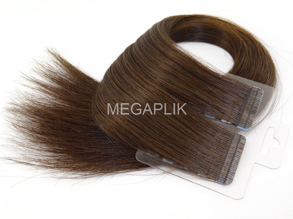 Mega Hair Fita Adesiva Premium 20 peças Castanho Médio #4 Cabelo Humano 35cm, 45cm, 55cm e 65cm