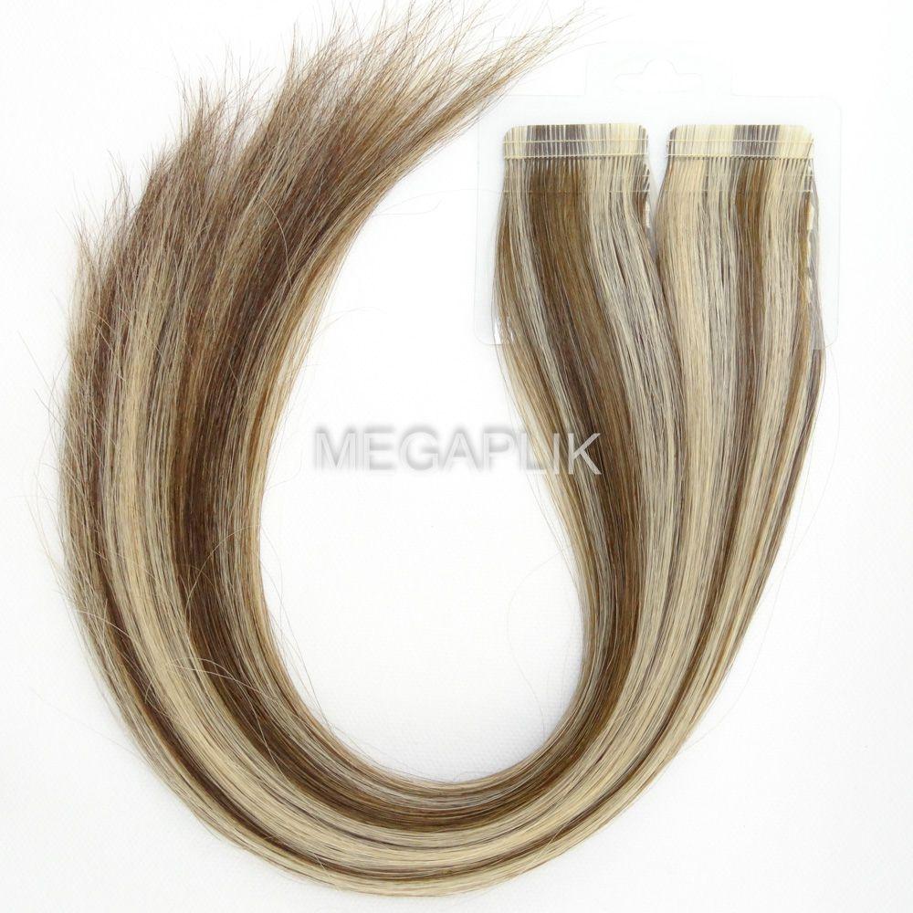 Mega Hair Fita Adesiva Premium 20 peças Mechado #6/10 Cabelo Humano 35cm, 45cm, 55cm e 65cm