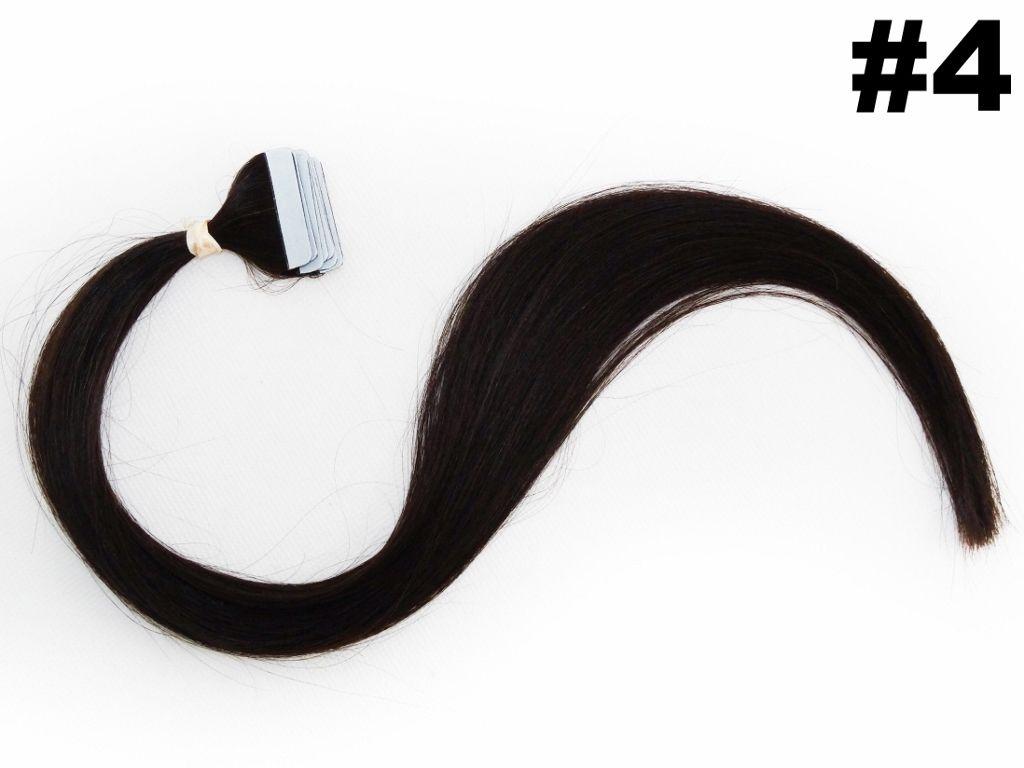 Mega Hair Fita Adesiva Classic Castanho Médio 55cm - 10 peças - Cor 4 - PROMOÇÃO