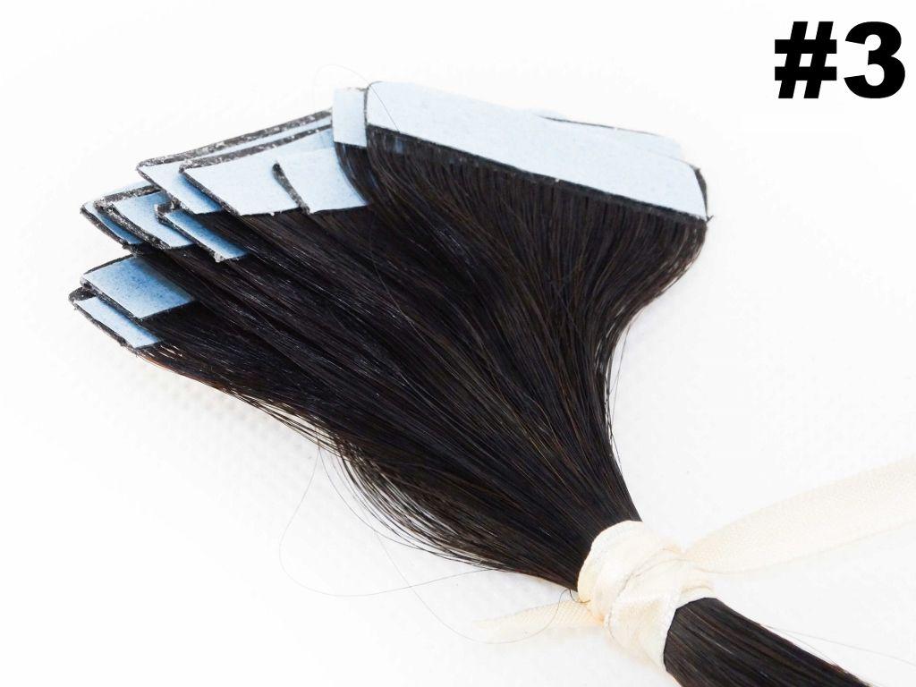PROMOÇÃO NATAL 15% - Mega Hair Fita Adesiva Classic Castanho Escuro 55cm - 10 peças - Cor 3