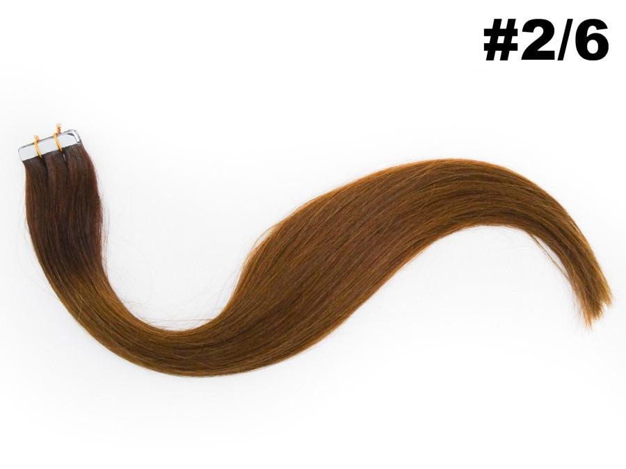 Mega Hair Fita Adesiva Classic Castanho Ombre 55cm - Cor 2/6 (tabela antiga)