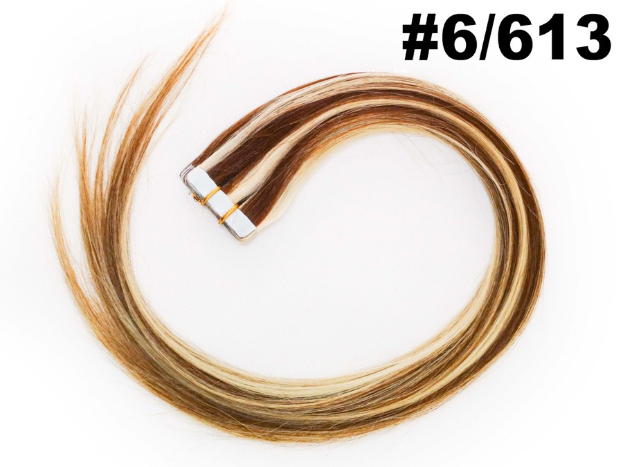 Mega Hair Fita Adesiva Classic Loiro Mechado 55cm - Cor 6/613 (tabela antiga)