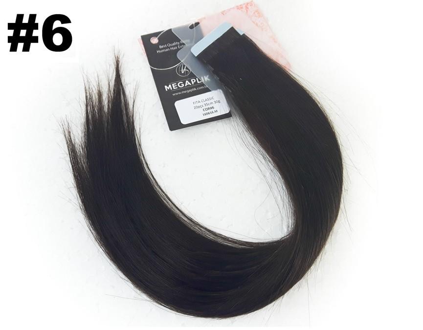 Mega Hair Fita Adesiva Classic Castanho - Cor 6 - PROMOÇÃO