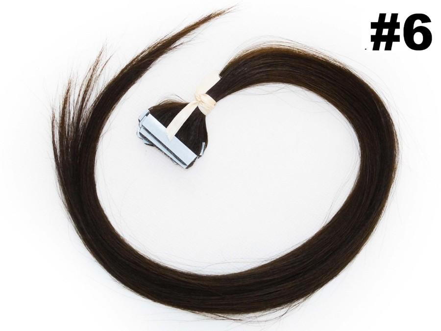 PROMOÇÃO 20% - Mega Hair Fita Adesiva Classic 10 Peças Castanho Claro #6 Cabelo Humano 55cm