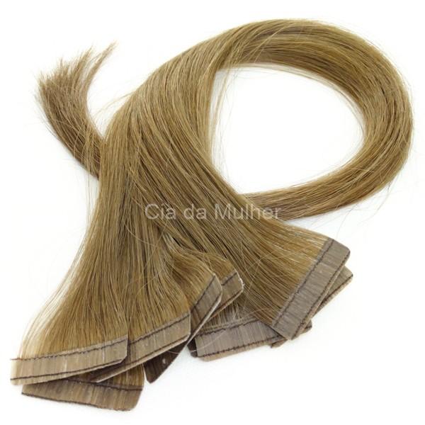 Mega Hair Fita Adesiva Classic Loiro Médio 55cm - 10 peças - Cor 7