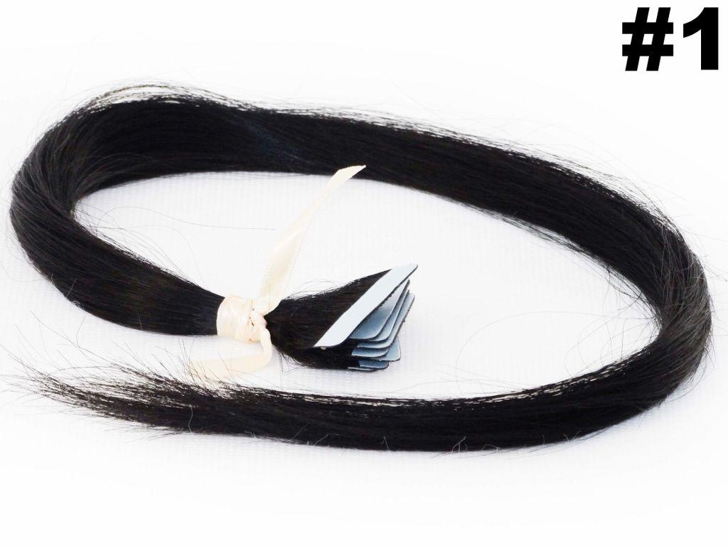 PROMOÇÃO CARNAVAL - Mega Hair Fita Adesiva Classic Preto 55cm - 10 peças - Cor 1
