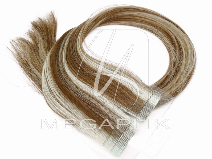 Mega Hair de Fita Adesiva Premium - 55cm - Loiro Mechado #6/613