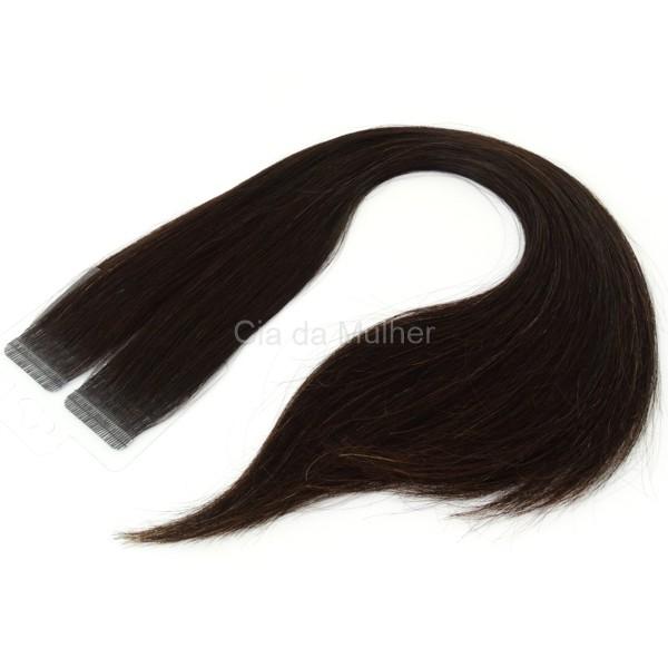 Mega Hair Fita Adesiva Premium 20 peças Castanho Escuro Natural Cabelo Humano 35cm, 45cm, 55cm e 65cm