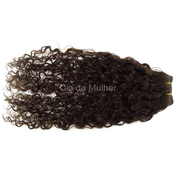 PROMOÇÃO CARNAVAL - Tela para Mega Hair Castanho Escuro #3 Cabelo Humano Cacheado 55cm 100g