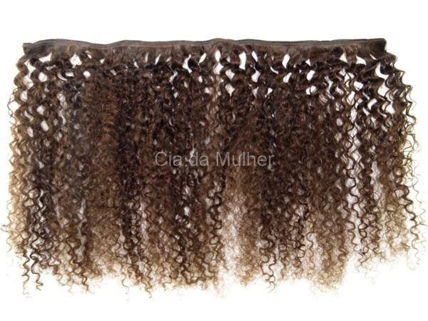 Mega Hair de Tela Cacheado Crespo Castanho Escuro #3