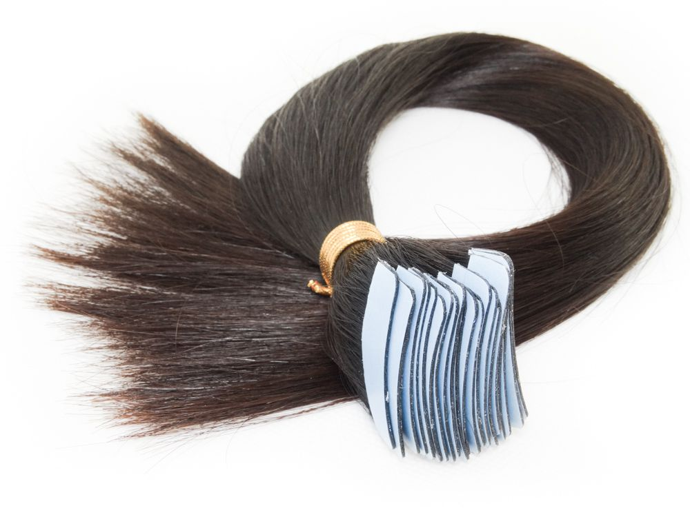Mega Hair Fita Adesiva Cabelo Humano Classic Castanho Escuro Natural - 20 peças 45cm 60g