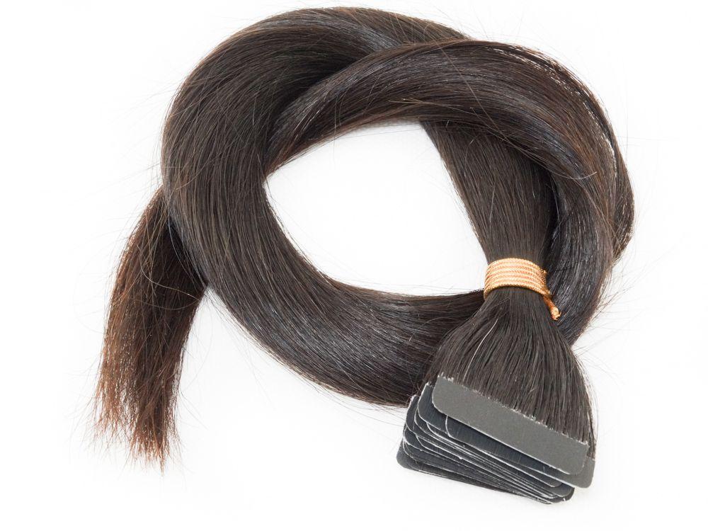 Mega Hair Fita Adesiva Cabelo Humano Classic Castanho Escuro Natural - 20 peças 65cm 55g