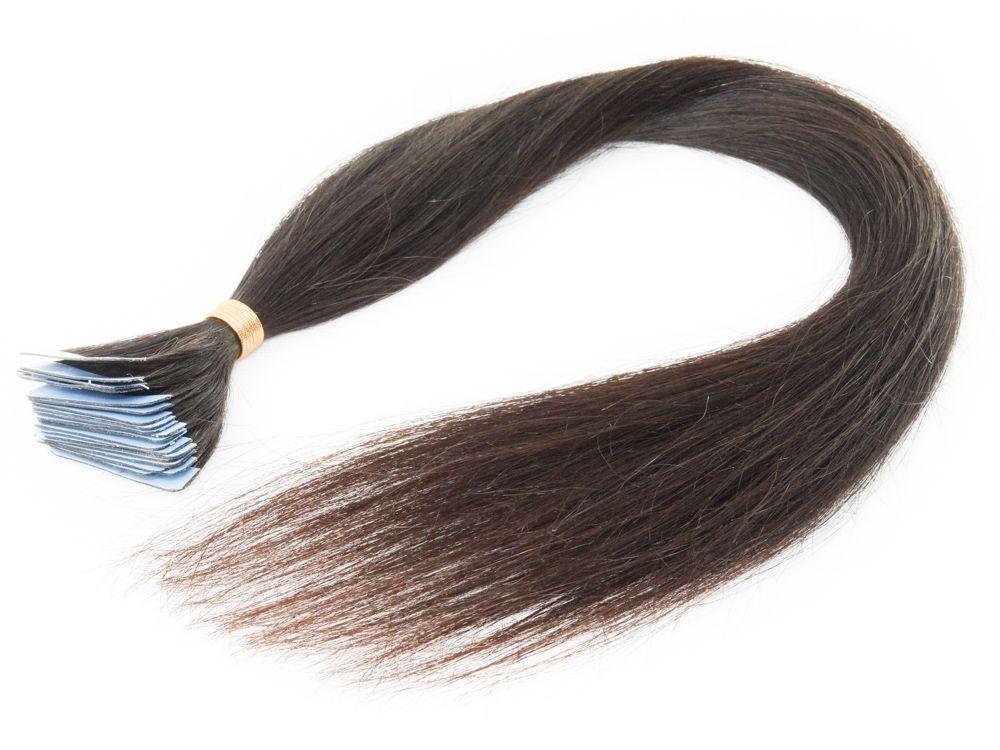 Mega Hair Fita Adesiva Cabelo Humano Classic Castanho Escuro Natural - 20 peças 65cm 60g