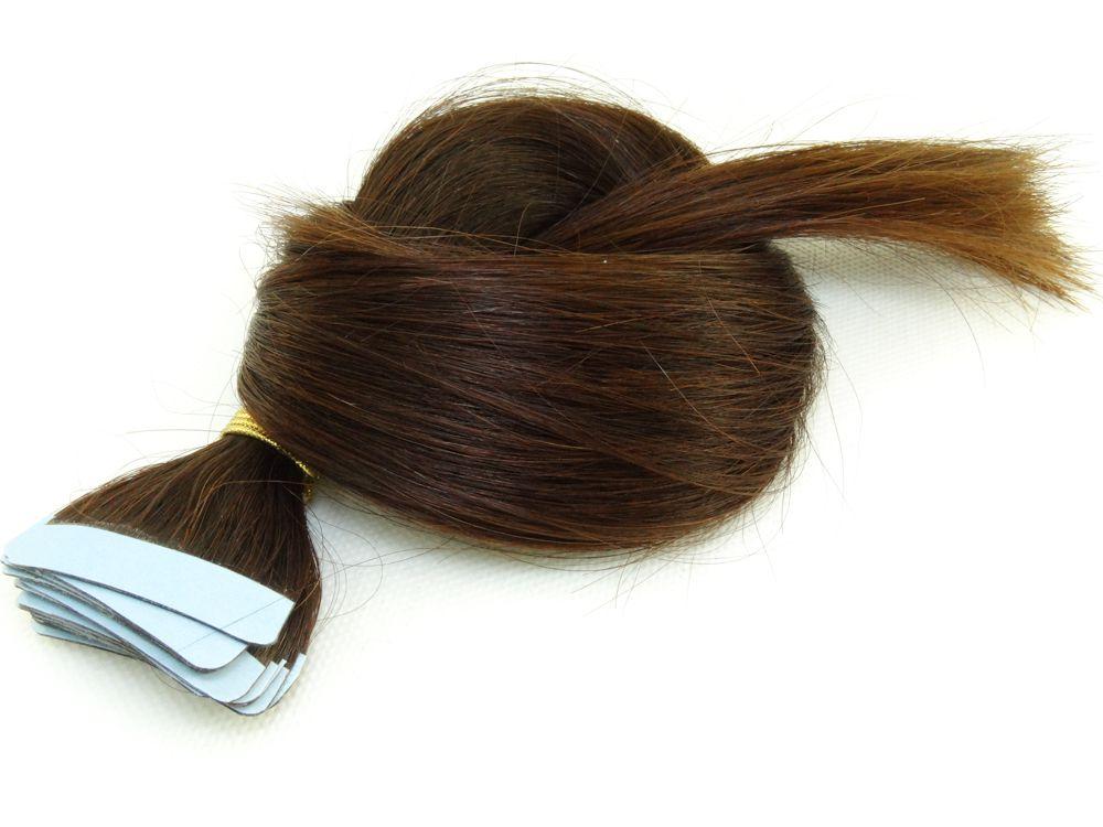 Mega Hair Fita Adesiva Cabelo Humano Classic Castanho Médio #2 - 20 peças 45cm 50g