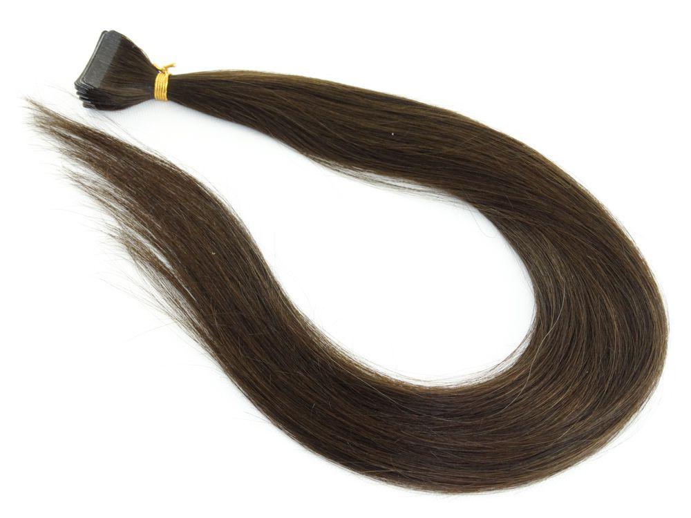 Mega Hair Fita Adesiva Cabelo Humano Classic Castanho Médio #4 - 20 peças 45cm 40g